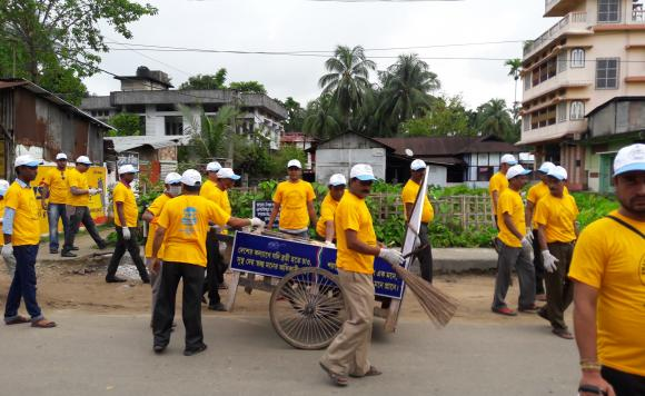 Cleanliness drive at Barak valley zone, assam by PHE officials along with active community members